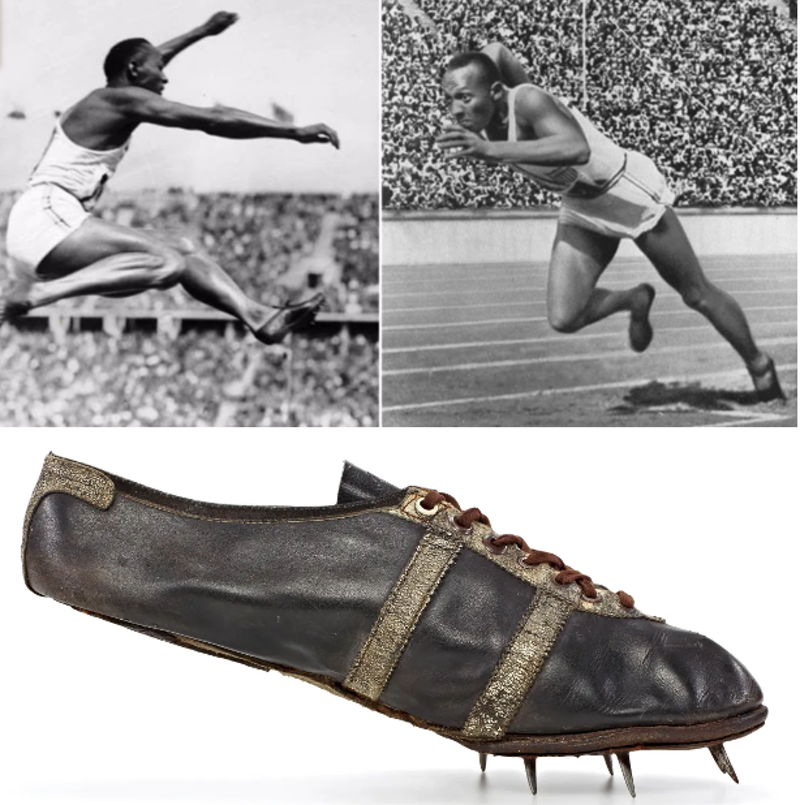 Jesse Owens in adidas spikes