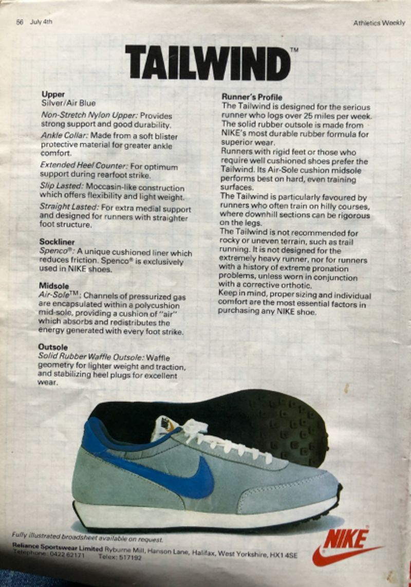 We found one of the original Tailwind adverts in UK magazine, Athletics Weekly